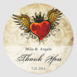 El corazón con alas tatuaje del vintage le agradec