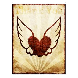 El corazón con alas tatuaje rojo le agradece posta tarjetas postales