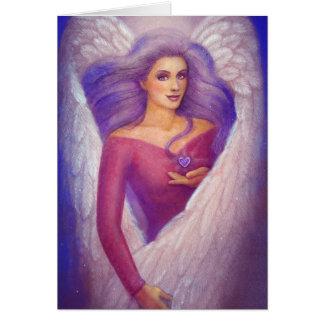 El corazón cristalino Amethyst de un ángel Tarjeta De Felicitación