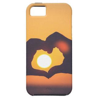 El corazón da puesta del sol iPhone 5 carcasa