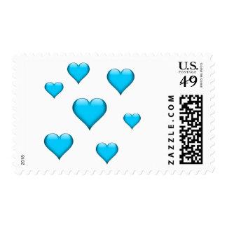 El corazón de cristal azul tejó personalizable sellos postales