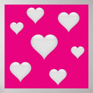 El corazón de cristal blanco tejó personalizable póster