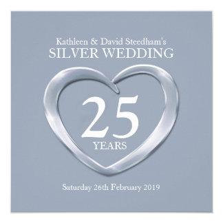 """El corazón de la bodas de plata 25 años de invitación 5.25"""" x 5.25"""""""
