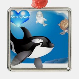 El corazón de la orca (orca) I diseña Adorno Navideño Cuadrado De Metal