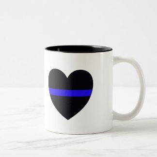 El corazón de la policía enrarece Blue Line Taza De Dos Tonos