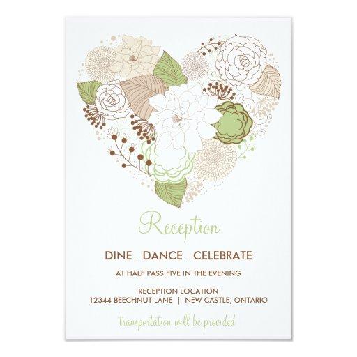 """El corazón de la primavera de la verde menta invitación 3.5"""" x 5"""""""
