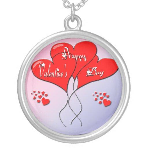 El corazón de la tarjeta del día de San Valentín Collar Plateado