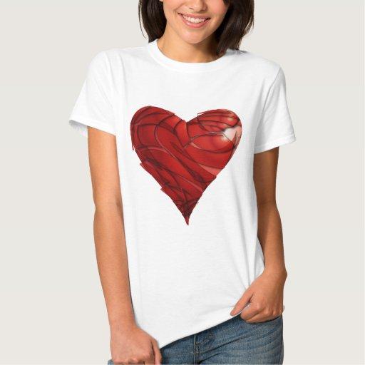 El corazón de la tarjeta del día de San Valentín Remeras