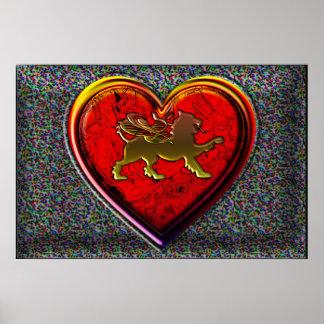 El corazón de oro con alas del león redondeado cor impresiones
