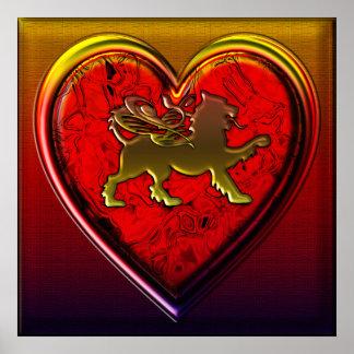 El corazón de oro con alas del león redondeado cor poster