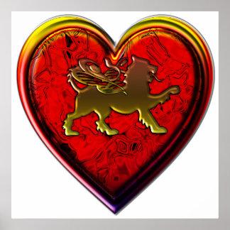 El corazón de oro con alas del león redondeado cor posters