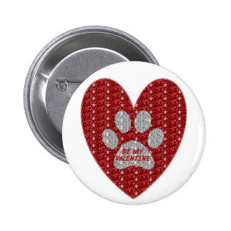 El corazón de plata rojo de la pata del botón sea  pin redondo de 2 pulgadas