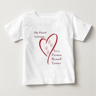 El corazón de Russell Terrier del párroco Playera De Bebé