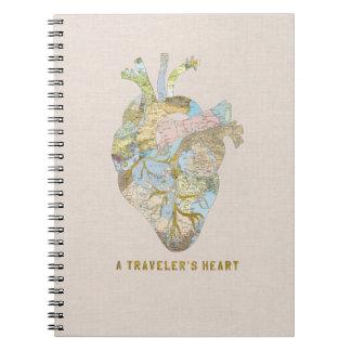 El corazón de un viajero libros de apuntes con espiral