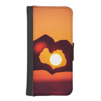 El corazón del amor da símbolo fundas tipo billetera para iPhone 5