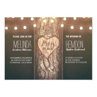 el corazón del árbol y el casarse rústicos de las invitación 12,7 x 17,8 cm