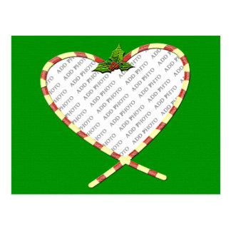 El corazón del bastón de caramelo añade su marco d tarjeta postal