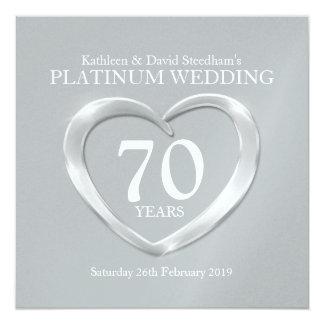 """El corazón del boda del platino 70 años de invitación 5.25"""" x 5.25"""""""
