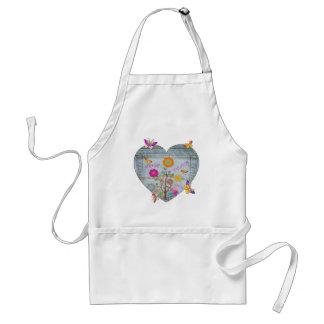 El corazón del bolsillo del dril de algodón florec delantales