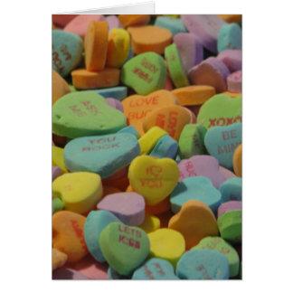 El corazón del caramelo sea el mío te amo tarjeta de felicitación