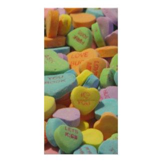 El corazón del caramelo sea el mío te amo tarjeta fotografica