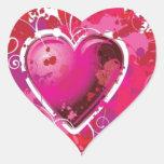 El corazón del Grunge salpica Pegatina En Forma De Corazón