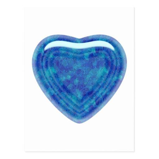 El corazón del jade del verde azul tarjetas postales