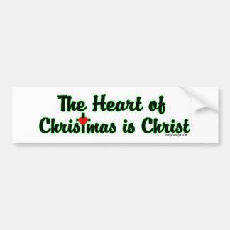 El corazón del navidad es Cristo Bumperstickers Etiqueta De Parachoque