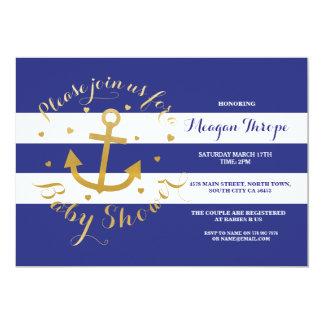 """El corazón del oro del ancla de los azules marinos invitación 5"""" x 7"""""""