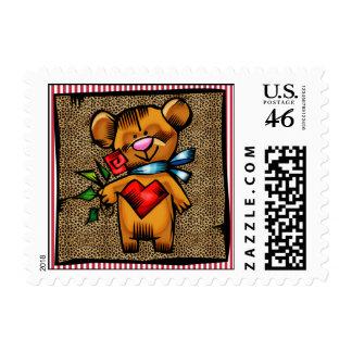 El corazón del oso de peluche florece franqueo