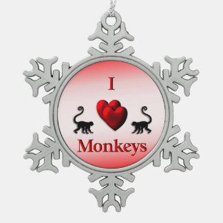 El corazón del rojo I Monkeys el ornamento del Adorno De Peltre En Forma De Copo De Nieve
