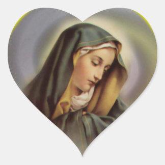 El corazón del Virgen María bendecido Calcomanías Corazones Personalizadas