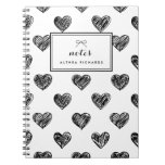 El corazón Doodles el cuaderno personalizado