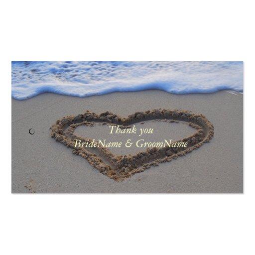 El corazón en arena le agradece etiqueta del tarjetas de visita