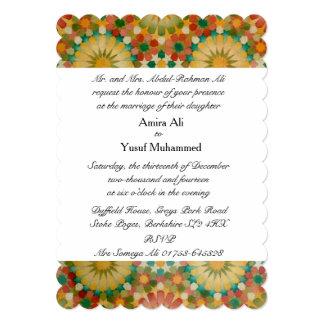 """El """"corazón en boda geométrico islámico de la invitación 12,7 x 17,8 cm"""