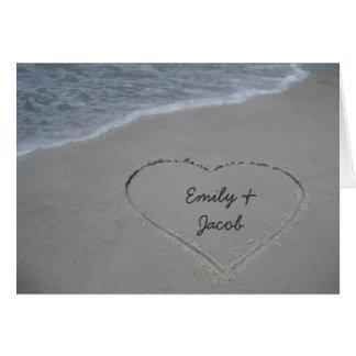 El corazón en la fiesta de aniversario de la playa tarjetas