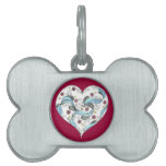 El corazón Festooned Placas Mascota