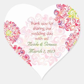 El corazón floral rizado de la dalia le agradece pegatina en forma de corazón