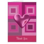 El corazón hinchado rosado le agradece tarjetas