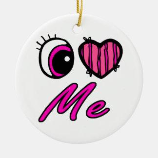 El corazón I del ojo de Emo me ama Adorno Redondo De Cerámica