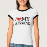 El corazón I mi camiseta del marido para la esposa Playeras