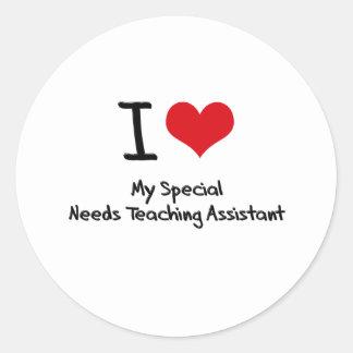 El corazón I mi Special necesita al profesor ayuda Pegatina Redonda