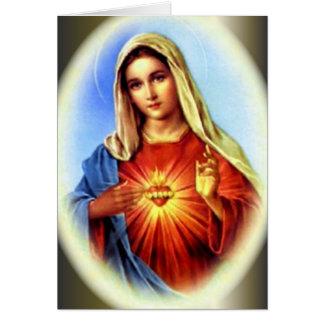 El corazón inmaculado del Virgen María bendecido Tarjeta De Felicitación