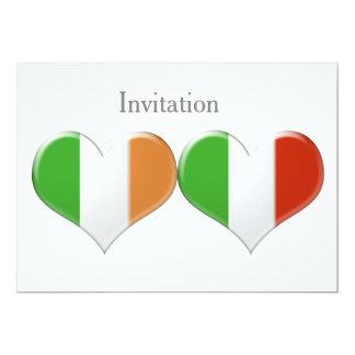 """El corazón irlandés e italiano señala la invitación 5"""" x 7"""""""