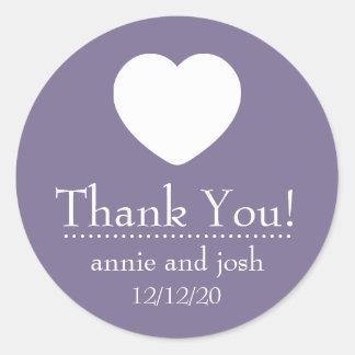 El corazón le agradece las etiquetas (la púrpura pegatina redonda