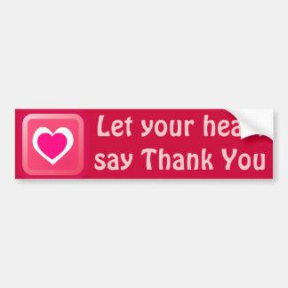 el corazón le agradece pegatina para el parachoque pegatina para auto