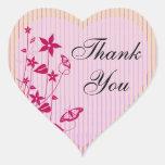 El corazón le agradece sellar |Pink y la mariposa Pegatina En Forma De Corazón