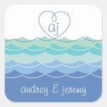 El corazón Loopy de las ondas azules le agradece Colcomanias Cuadradass