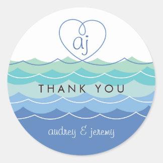 El corazón Loopy de las ondas azules le agradece Pegatina Redonda