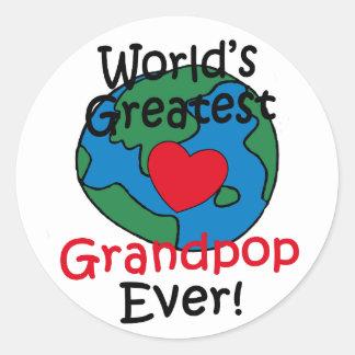 El corazón más grande de Grandpop del mundo Pegatinas Redondas